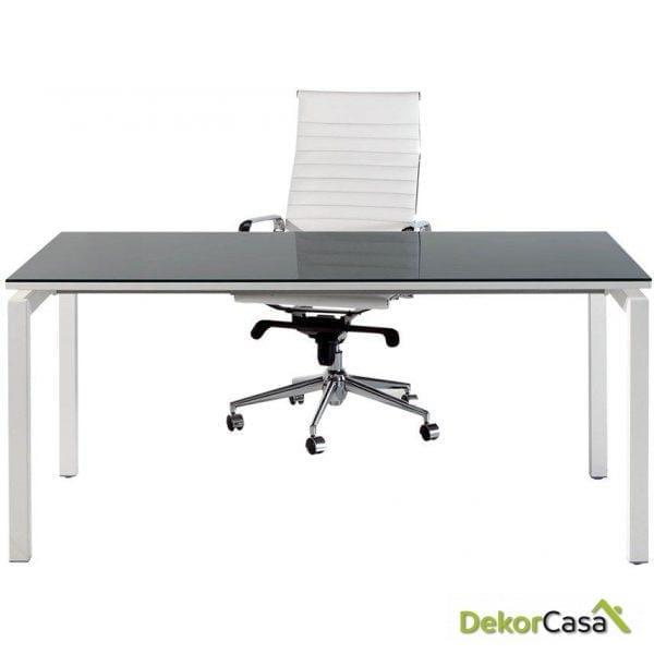 Mesa de despacho rectangular melamina con cristal Euro 5000