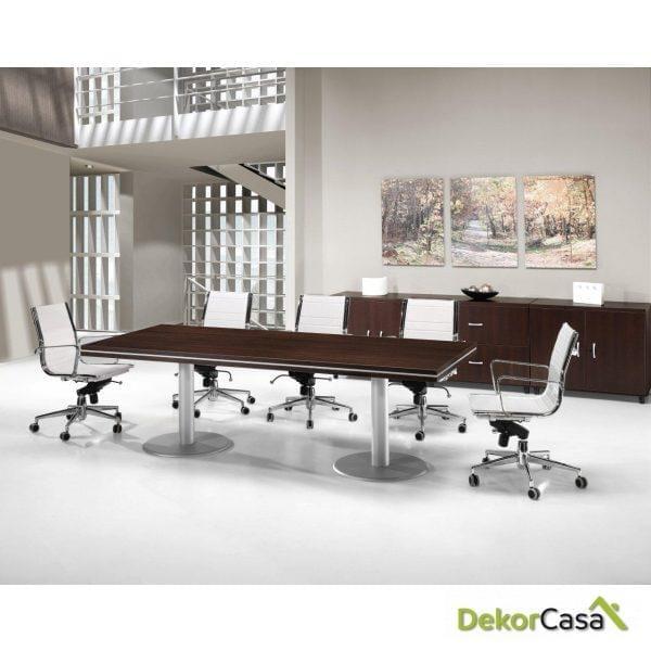 Mesa de juntas rectangular bases cilíndricas color gris Colina