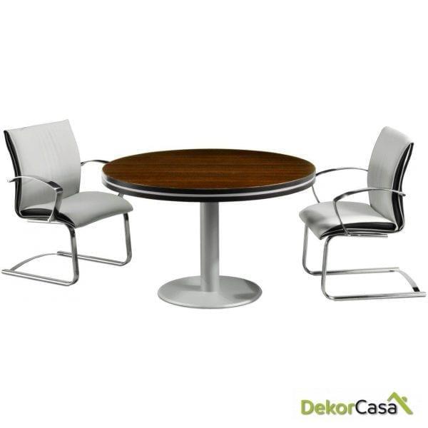 Mesa de juntas redonda base cilíndrica color gris Colina