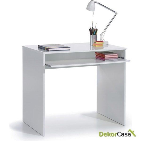 Mesa de ordenador Blanco Brillo bandeja extensible 90 x 79 x 54 cm