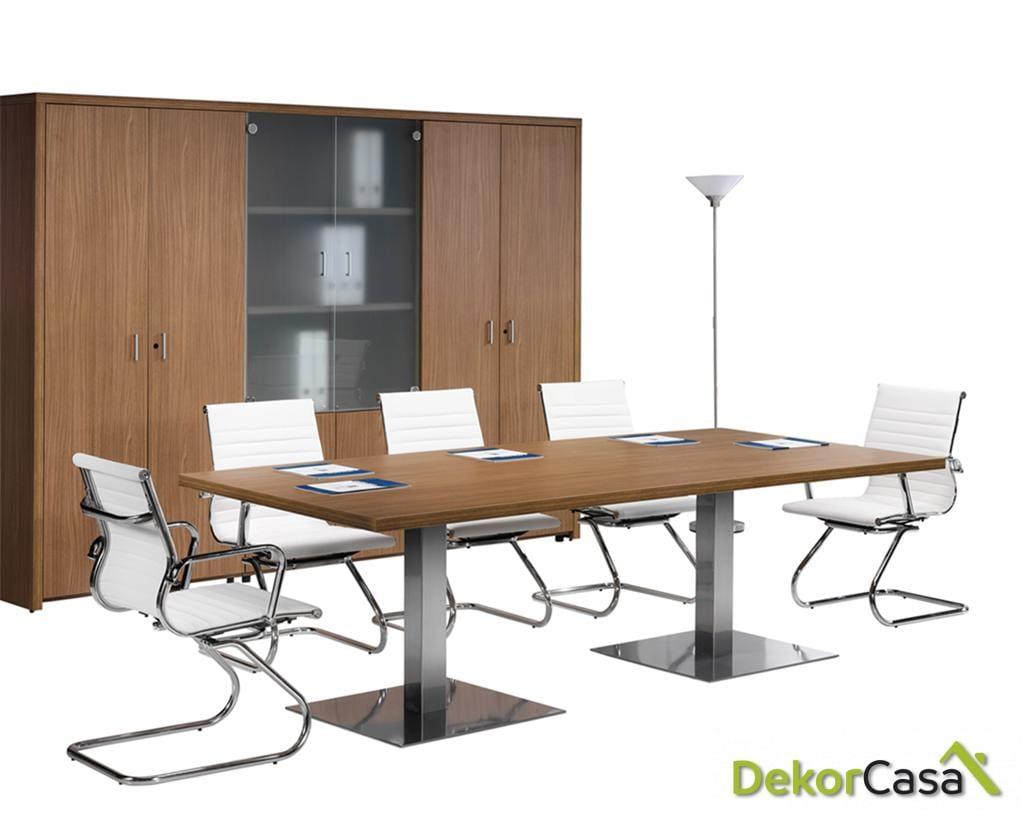 Mesa de reunión con dos peanas cuadradas Senda