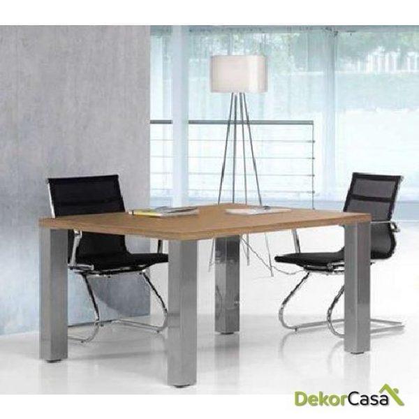 Mesa de reunión cuadrada con cristal Senda