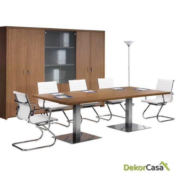 Mesa de reunión rectangular con cristal dos peanas Senda