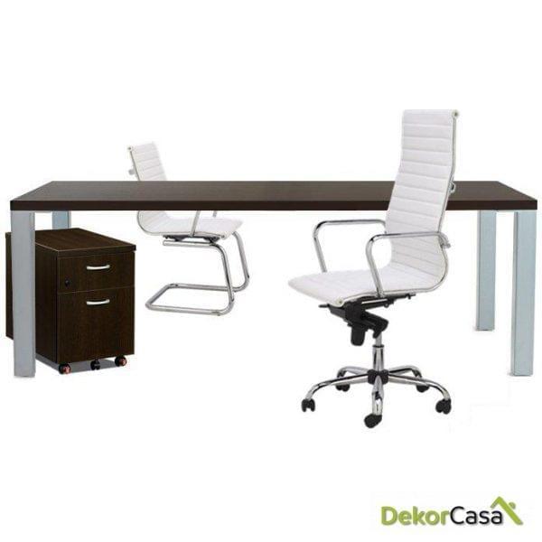 Mesa de reunión rectangular con cristal Senda