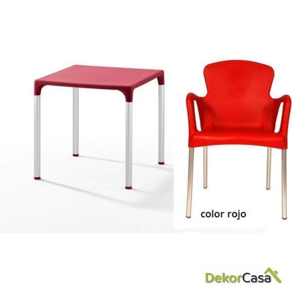 Mesa ELIANA, aluminio, polipropileno color rojo