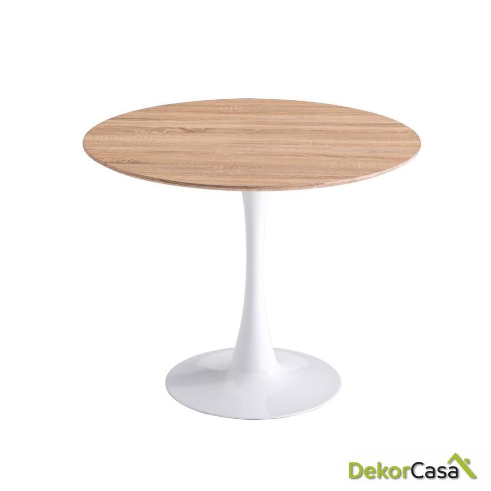 MESA redonda madera y blanca  de 90 cm