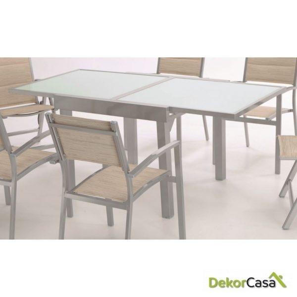 Mesa Sera Extensible aluminio plata y cristal