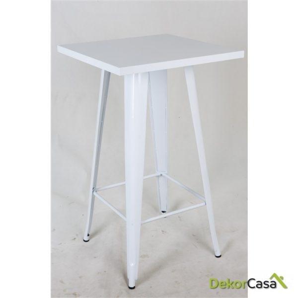 Mesa TOL-BL, alta, diseño, acero, blanca, 60x60 cms