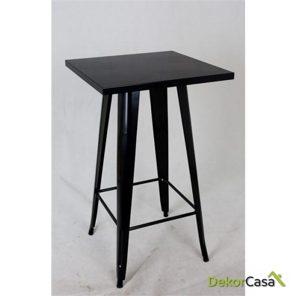 Mesa TOL-NE, alta, diseño, acero, negra, 60x60 cms