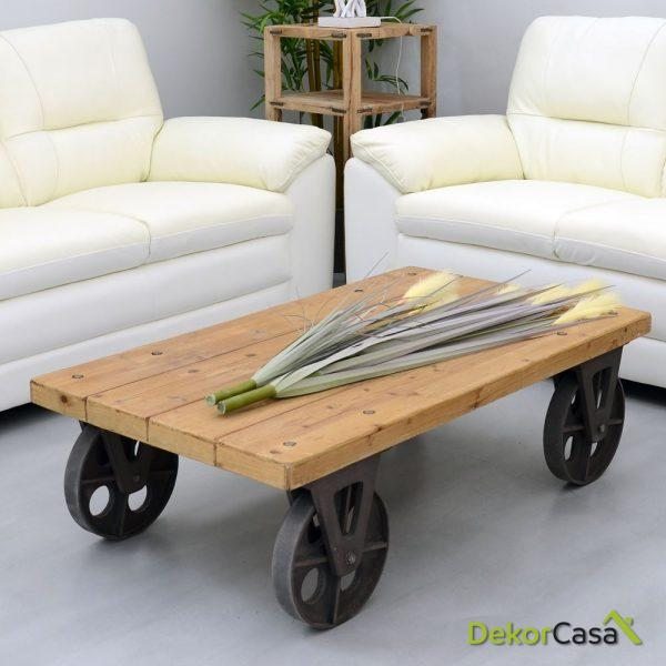 mesa centro con ruedas natural madera 150 x 70 x 36 cm 1