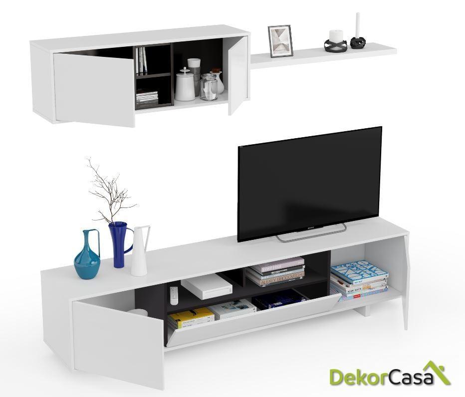 Módulo bajo TV + Módulo horizontal + Estante  Blanco Brillo