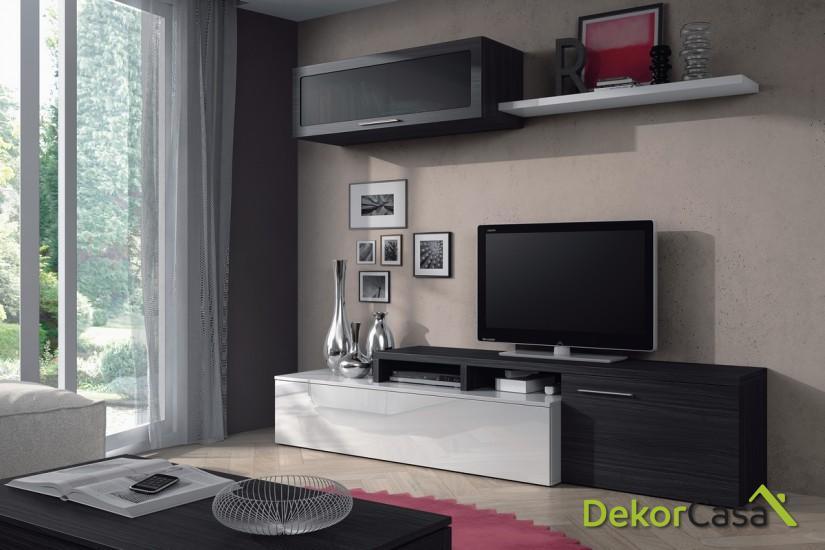 Módulo bajo TV + Módulo vitrina horizontal + Estante