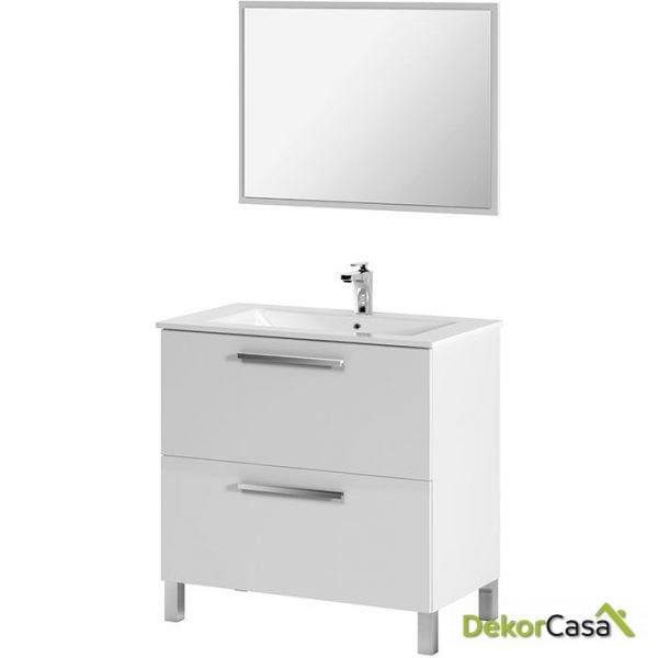 Mueble 80 CM + 2 cajones + espejo + LAVABO