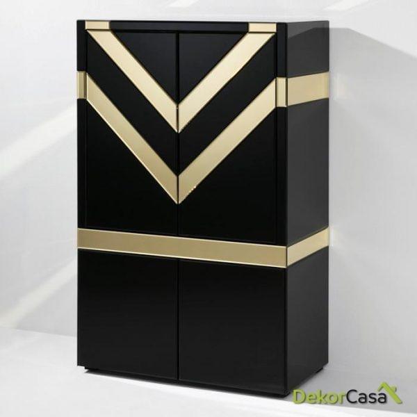 Mueble Bar Cristal Negro/Espejo Dorado 88x45x140 cm