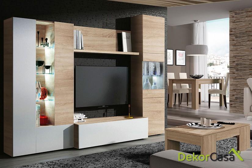 Mueble de salón roble LEDS Ancho: 260 cm X Fondo: 42 cm X Alto: 185 cm