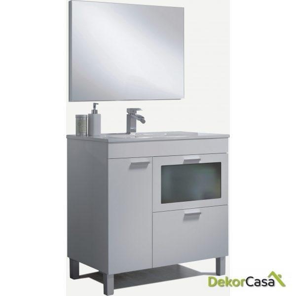 Mueble lavabo 1 puerta + 1 Puerta ABAT. CON CRISTAL + 1 cajón + espejo + LAVABO
