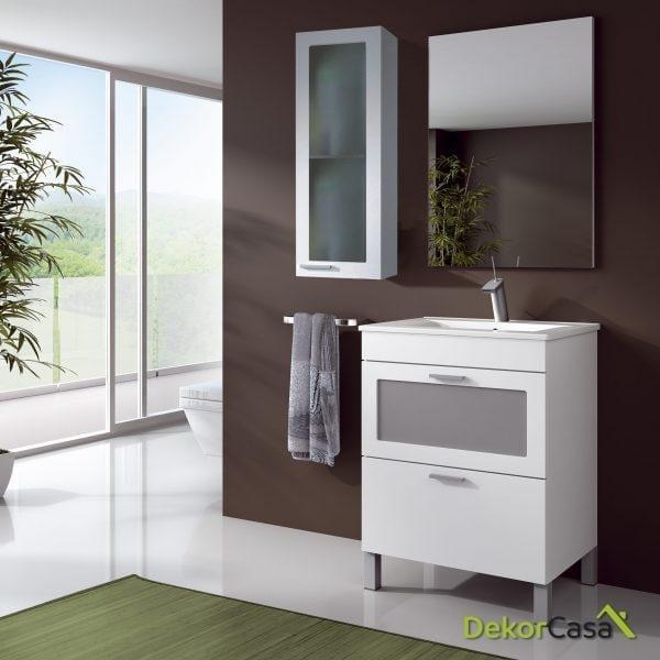 Mueble lavabo 1 Puerta ABATible CON CRISTAL + 1 cajón + espejo + LAVABO