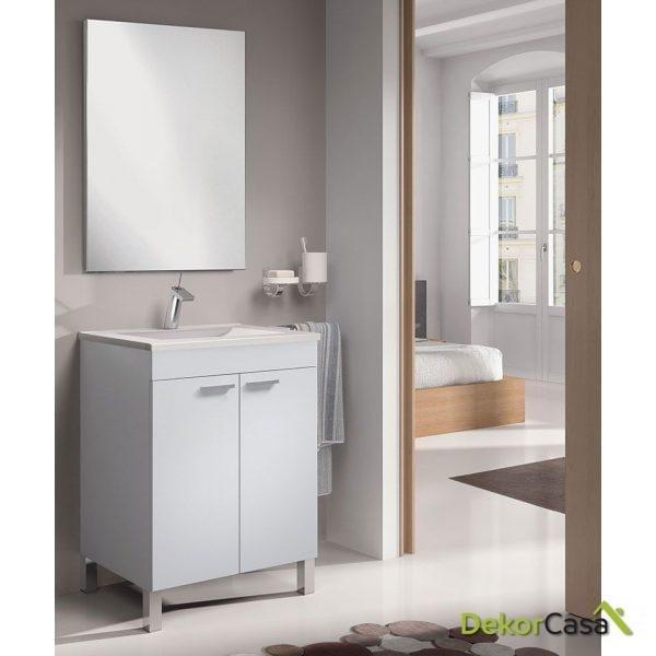 Mueble lavabo 60 CM  2 puertas + espejo + LAVABO