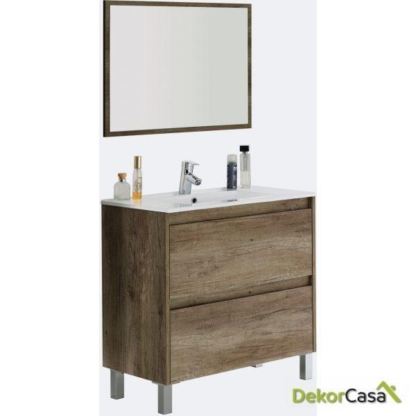 Mueble lavabo 80 de 2 cajones + espejo + LAVABO