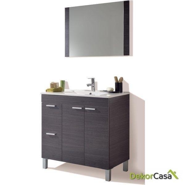 Mueble lavabo 80 x 80 x 45cm  2 puertas + 2 Cajones + espejo + LAVABO