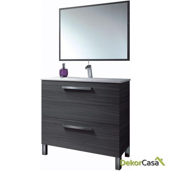 Mueble lavabo GRIS CENIZA 80 x 80 x 45cm + espejo + LAVABO