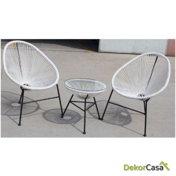 Pack CANCUN 2 sillas y mesa B/N/R