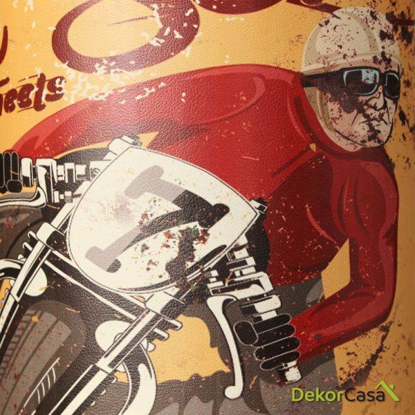 PARAGÜERO MOTO AMARILLO DM-SIMIL PIEL 23 X 23 X 45 CM