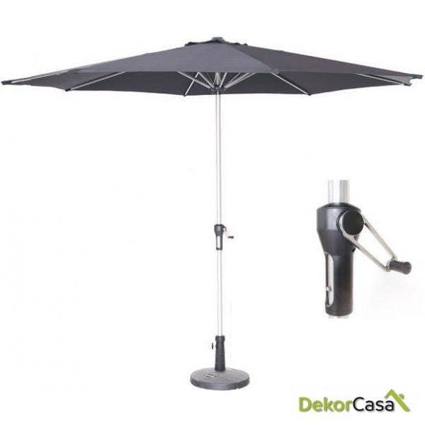 Parasol aluminio manivela lona negro 300cm