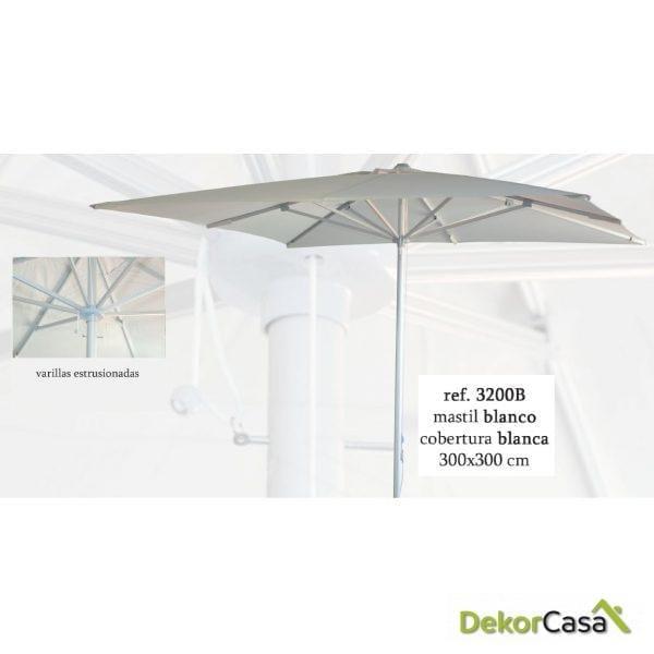 Parasol aluminio mastil blanco lona blanca 3m x 3 m