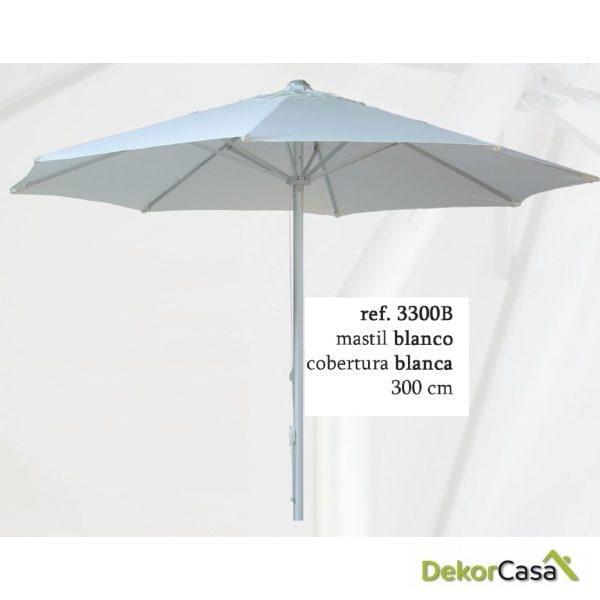 Parasol aluminio mastil blanco y  lona blanco 300 cm