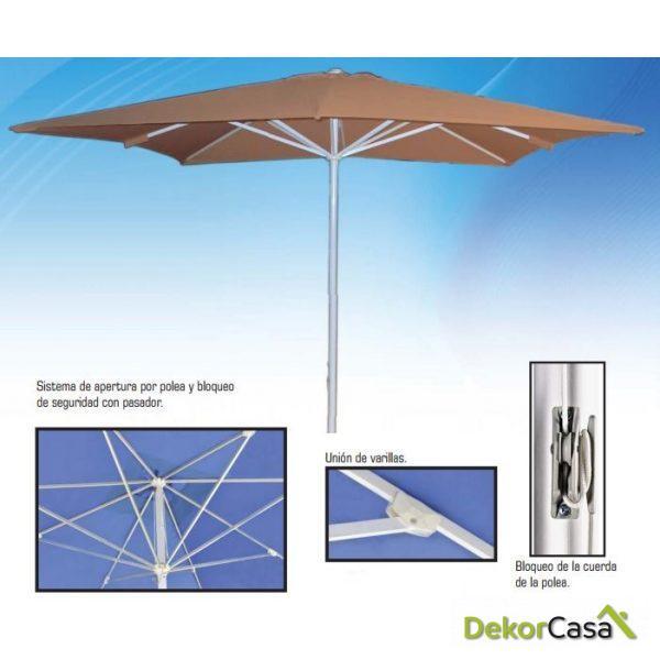 Parasol de aluminio 3x3m