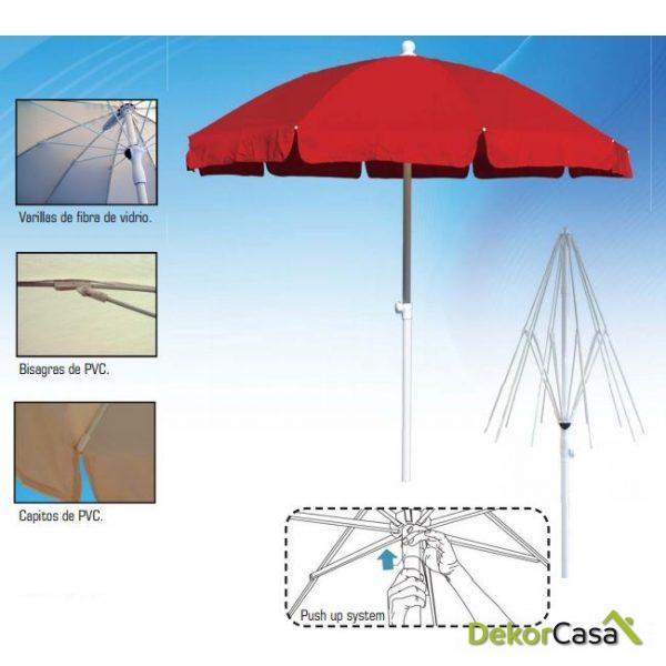 Parasol de aluminio estriado Ø2m