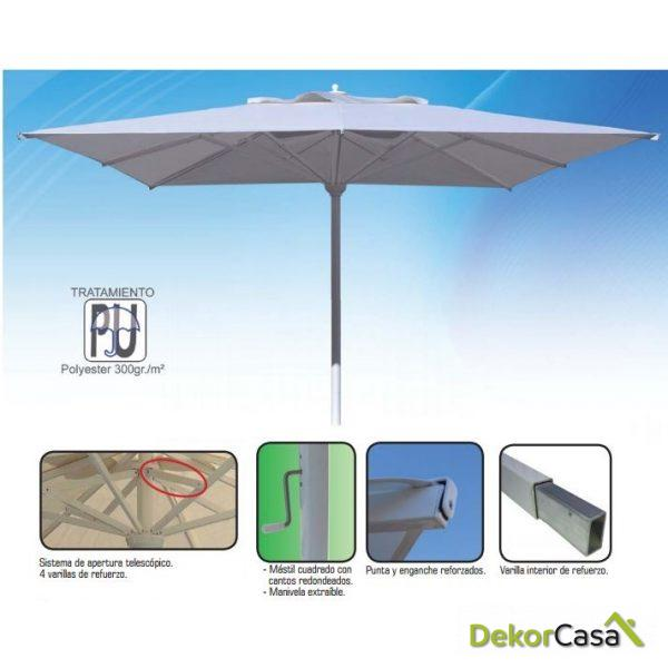 Parasol de aluminio Master 3x3m