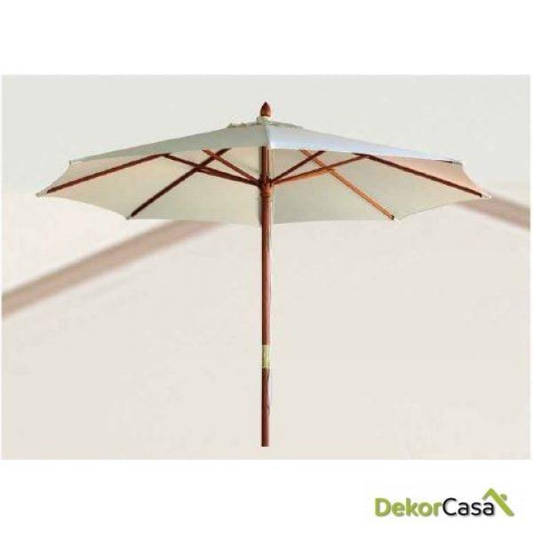 Parasol de madera bejis crudo/ verde/ azul 300cm