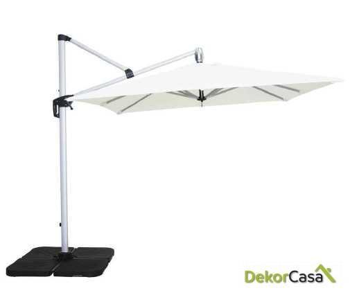 Parasol excentrico aluminio y polyester blanco/ taupe 250x250cm
