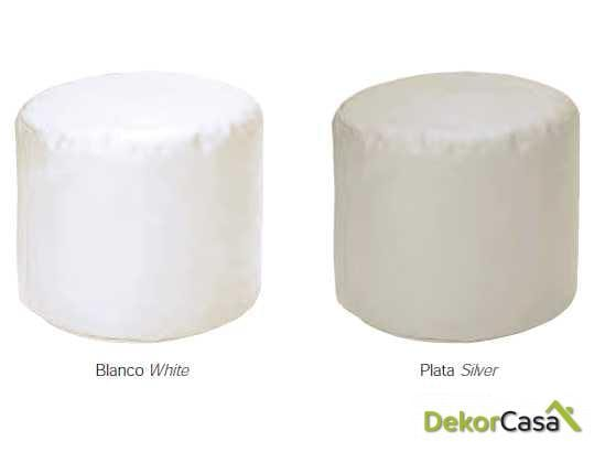puff redondo blanco plata