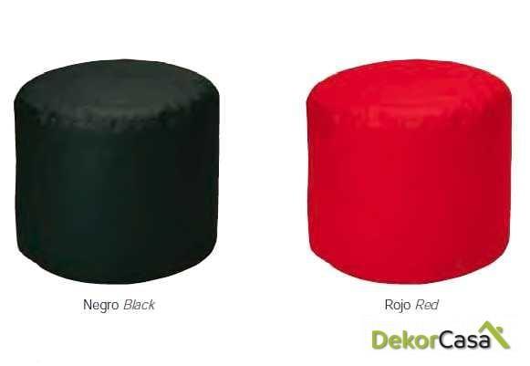 puff redondo negro rojo