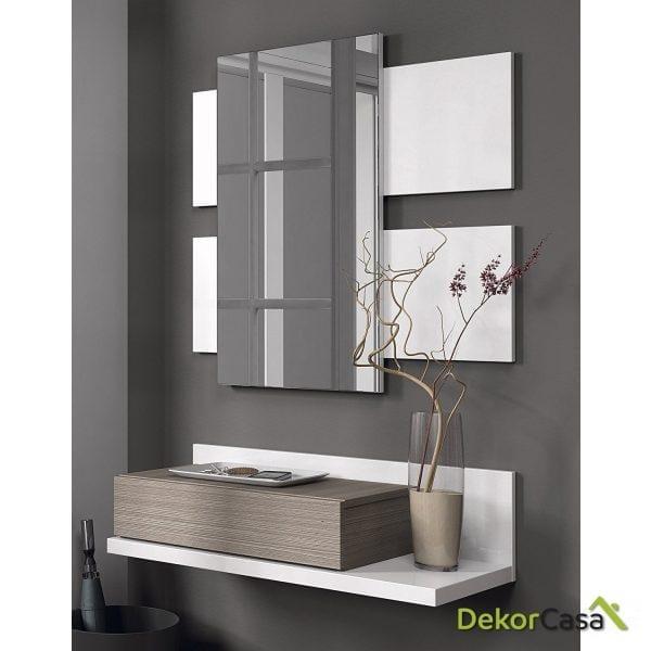Recibidor 1 cajon + espejo  Blanco/fresno