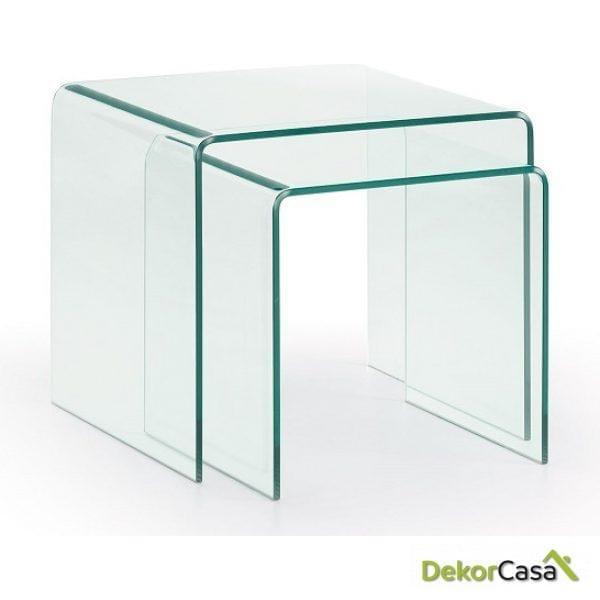 Set 2 Mesas BURANO Cristal Transparente
