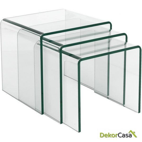 set de 3 mesas de cristal VULCANO