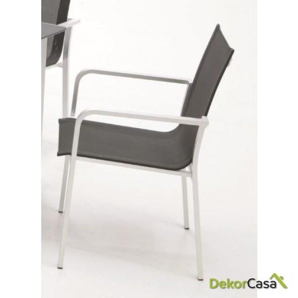 silla aluminio y textilene negro SANTORINI