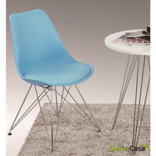 silla ames azul patas metalicas