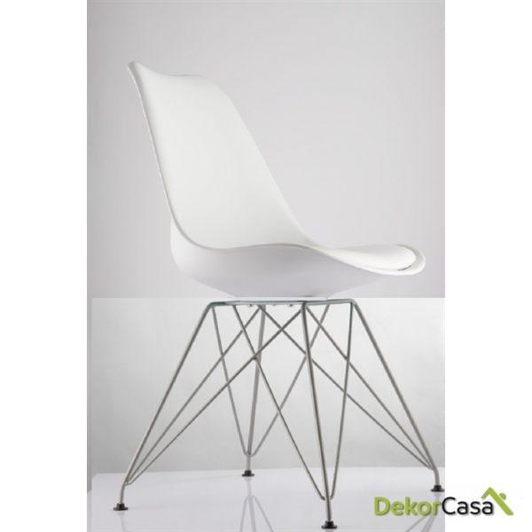 silla ames blanca patas metalicas