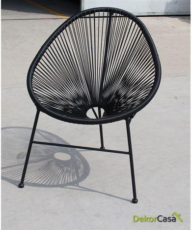 Silla CANCUN asiento negro/blanco/rojo 78x74x82cm