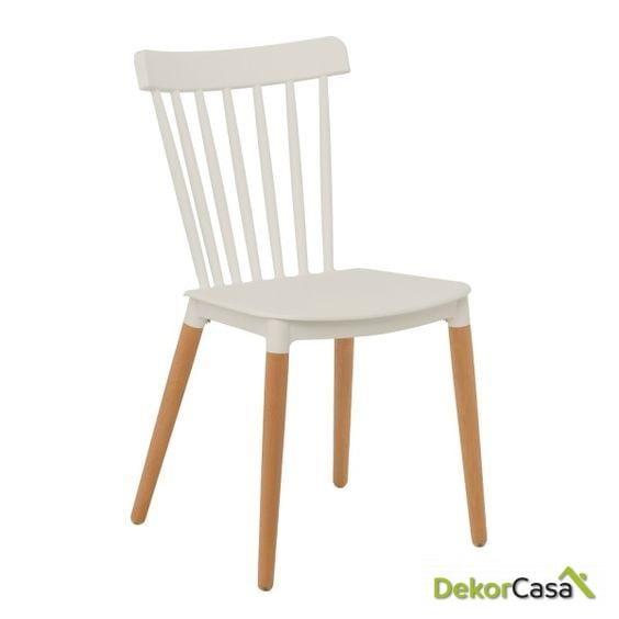 silla vanesa madera polipropileno blanco