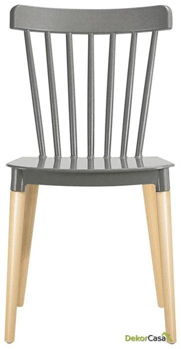silla vanesa madera polipropileno gris