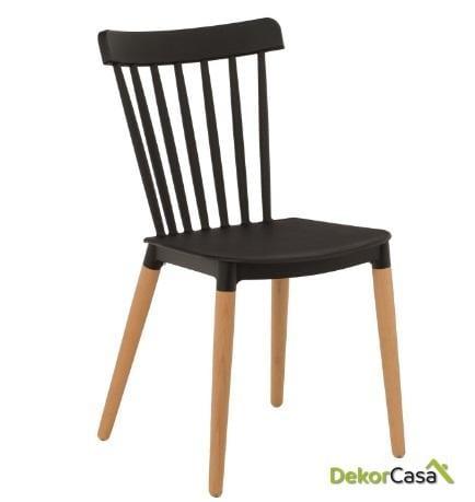 silla vanesa madera polipropileno negro