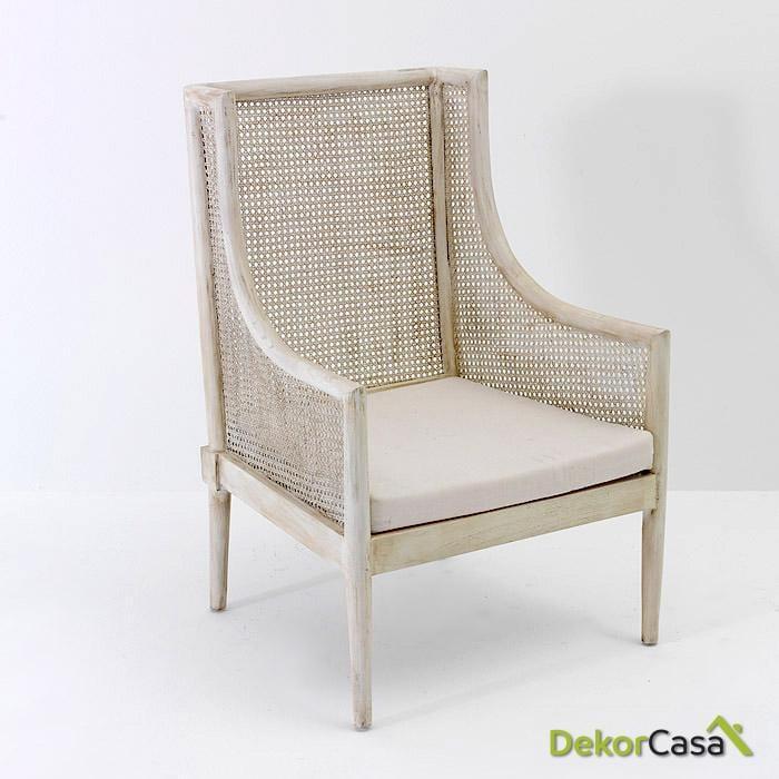 Sillón alazne Madera Blanco velado 65x65x95 cm