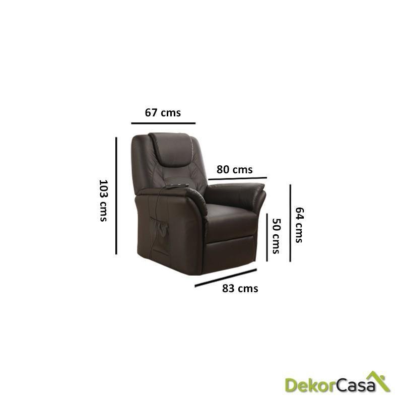 sillon de masaje eco 8196up marron chocolate eco de 2