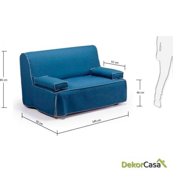 sofá cama azul 140